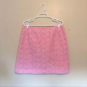 Lilly Pulitzer Pink Cotton Lace Mini Skirt Size 14